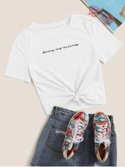 Casual Slogan Regular Fit Round Neck Short Sleeve Pullovers White Regular Length Slogan Embroidered Tee