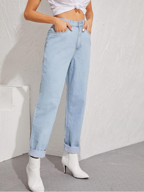 Casual Plain Straight Leg Regular Button Fly and Zipper Fly High Waist Blue and Pastel Long Length Bleach Wash Boyfriend Jeans