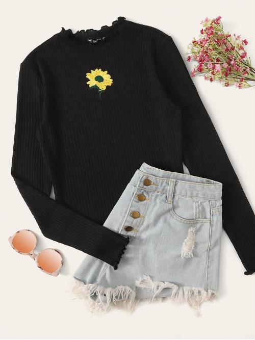 Casual Plants Regular Fit Stand Collar Long Sleeve Regular Sleeve Pullovers Black Regular Length Sunflower Embroidered Lettuce Edge Rib-knit Tee