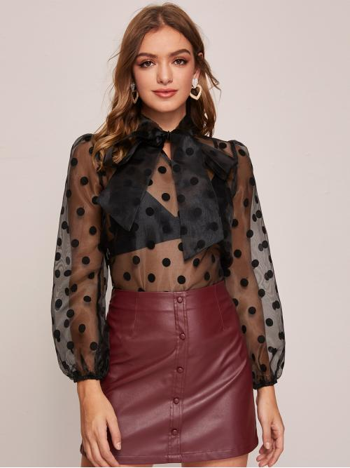 Sexy Polka Dot Top Regular Fit Stand Collar Long Sleeve Bishop Sleeve Pullovers Black Regular Length Tie Neck Polka Dot Organza Top Without Bra