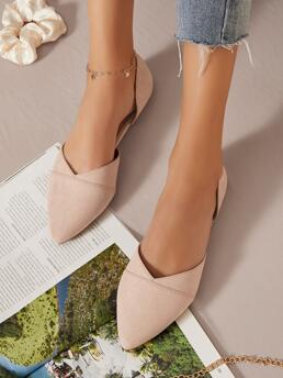 Dusty Pink Ballet Point Toe Suede Vegan Pointed Toe Dorsay Flats on Sale