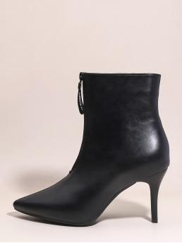 Other Point Toe Plain Front Zipper Black Ultra High Heel Stiletto Zip Front Point Top Stiletto Heeled Boots