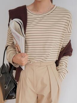 Long Sleeve Nylon Striped Apricot Dazy Tee Without Cape Ladies