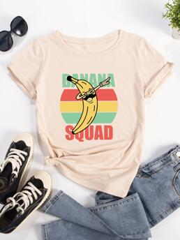 Ladies Short Sleeve Cotton Graphic Apricot and Banana Tee