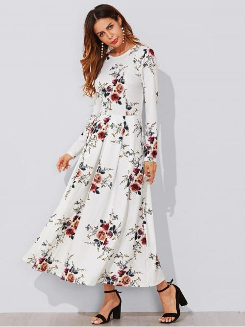 Sale Multicolor Floral Zipper Round Neck Flower Print Box Pleated Maxi Dress
