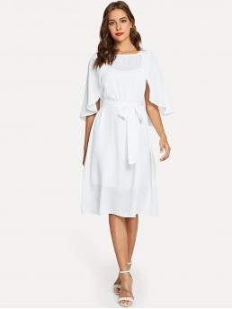White Plain Belted Round Neck Cape Sleeve Self Solid Dress Shopping