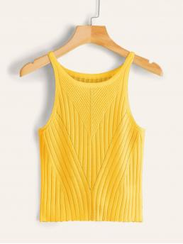 Casual Tank Plain Slim Fit Scoop Neck Yellow and Bright Regular Length Solid Rib-knit Tank Top