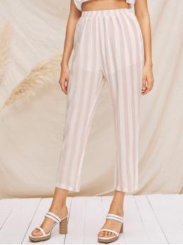 Casual Striped Tapered/Carrot Regular Elastic Waist High Waist Pink Cropped Length Elastic Waist Striped Tapered Pants