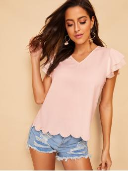 Casual Plain Top Regular Fit V neck Cap Sleeve Butterfly Sleeve Pullovers Pink and Pastel Regular Length Layered Sleeve Scallop Trim Solid Blouse