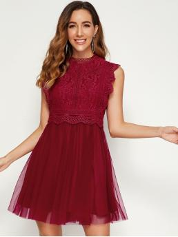 Elegant Fit and Flare Plain Flared Regular Fit Stand Collar Sleeveless High Waist Burgundy Short Length Mock Neck Lace Bodice Mesh Flare Hem Dress with Lining