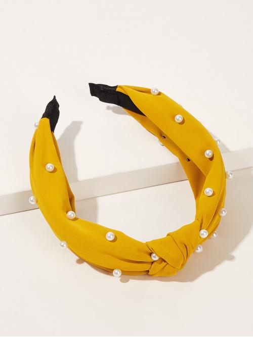 Casual Hair Hoop Yellow and Bright Faux Pearl Decor Knot Decor Headband