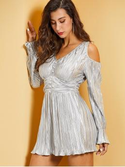 Glamorous A Line Plain Pleated Regular Fit V neck Long Sleeve Flounce Sleeve High Waist Grey Short Length SBetro Open Shoulder Ruched Wide Waist Metallic Dress