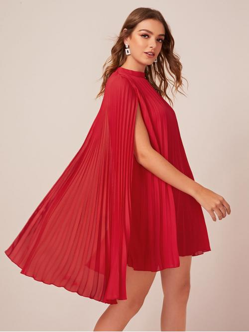 Glamorous A Line Plain Straight Regular Fit Stand Collar Cloak Sleeve Natural Red and Bright Short Length Mock Neck Pleated Cape Dress with Lining