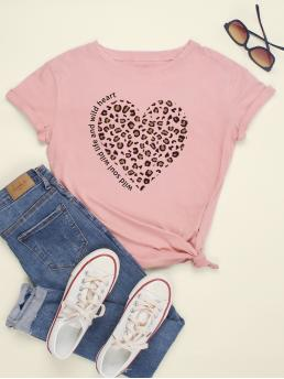 Casual Heart and Leopard Regular Fit Round Neck Short Sleeve Regular Sleeve Pullovers Pink Regular Length Leopard Heart & Letter Graphic Tee