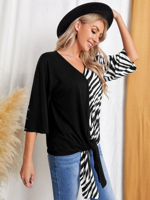 Three Quarter Length Sleeve Tie Front Polyester Striped Emery Rose Contrast Tee on Sale
