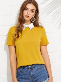 Preppy Plain Regular Fit Collar Short Sleeve Pullovers Yellow Regular Length Contrast Collar With Faux Pearl Embellished Tee