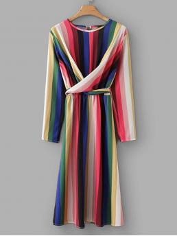 Ladies Multicolor Striped Belted Round Neck Rainbow Criss Cross Dress