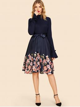 Vintage Fit and Flare Floral Flared Regular Fit Stand Collar Long Sleeve Natural Navy Midi Length 50s Floral Frill Neck Belted Flare Dress with Belt