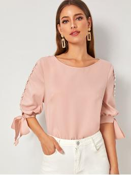 Elegant Plain Top Regular Fit Round Neck Half Sleeve Regular Sleeve Pullovers Pink and Pastel Regular Length Pearl Beaded Knot Cuff Top
