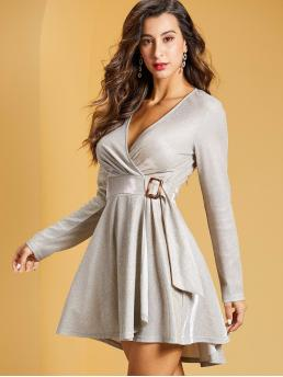 Glamorous Fit and Flare Plain Wrap Regular Fit V neck Long Sleeve Regular Sleeve High Waist Grey Short Length SBetro Buckle Belted Wrap Glitter Dress with Belt