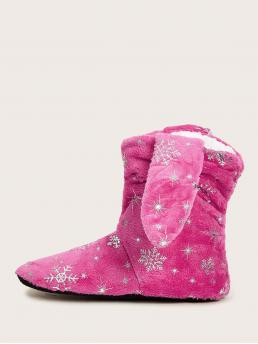 Comfort Slippers Round Toe Pink Snowflake Graphic High Top Boots
