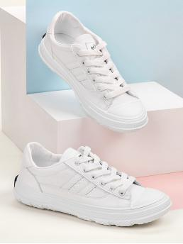 Comfort Round Toe Letter Lace Up White Striped Detail Lace-up Front Sneakers