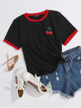 Short Sleeve Embroidery Polyester Fruit&vegetable Cherry Ringer Tee Affordable