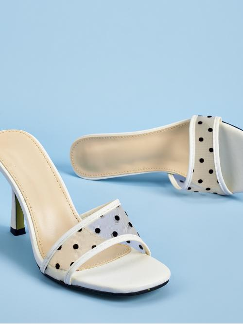 Ladies Polyester White Straight Scallop Heeled Sandal Mules