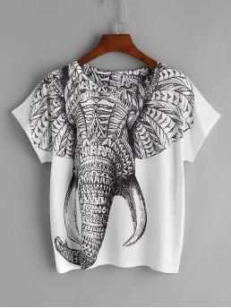 Casual Animal Regular Fit Round Neck Short Sleeve Black and White Elephant Print Tee
