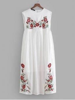 Casual Smock Round Neck Sleeveless High Waist White Long Length Embroidery Babydoll Dress