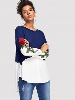 Casual Floral Top Regular Fit Round Neck Long Sleeve Pullovers Multicolor Regular Length Two Tone Flower Embroidery Blouse