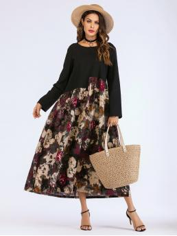 Modest Smock Floral Straight Loose Round Neck Long Sleeve Regular Sleeve Natural Multicolor Maxi Length Floral Spliced Smock Maxi Dress