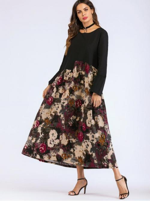 Pretty Multicolor Floral Button Round Neck Spliced Dress