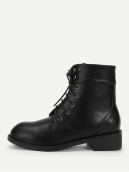 Corduroy Black Combat Boots Studded Lace-up Boots Shopping