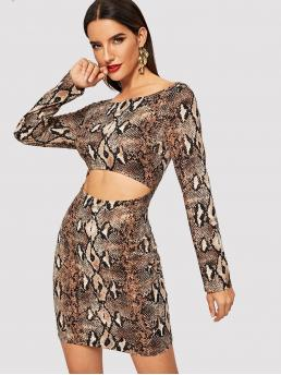 Glamorous Animal Bodycon Boat Neck Long Sleeve High Waist Multicolor Short Length Snake Skin Print Cut Out Dress