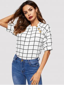 Elegant Top Regular Fit Round Neck Half Sleeve Pullovers White Regular Length Button Detail Raglan Sleeve Grid Top