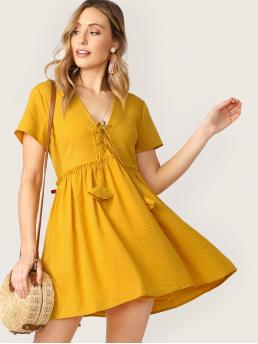 Boho A Line Plain Flared V neck Short Sleeve High Waist Yellow Short Length Lace Front Raw Ruffle Trim Striped Babydoll Dress with Lining