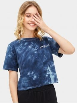 Casual Letter and Tie Dye Regular Fit Round Neck Short Sleeve Pullovers Blue Regular Length Tie Dye Letter Graphic Tee