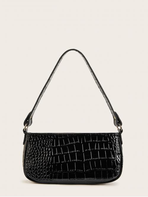 Casual Crocodile Black Medium Size Croc Embossed Baguette Bag