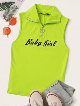 Sporty Tank Slogan Slim Fit Collar Green and Bright Regular Length O-ring Zip Half Placket Letter Graphic Tank Top