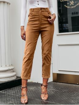 Casual Plain Tapered/Carrot Regular Button Fly and Zipper Fly High Waist Camel Cropped Length Simplee Corduroy Crop Cigarette Pants