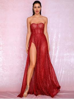 Glamorous A Line Plain Slit Regular Fit Strapless Sleeveless High Waist Red and Bright Maxi Length LOVE&LEMONADE Split Thigh Sequin Mesh Bustier Tube Dress with Chest pad with Lining