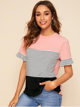 Casual Striped and Colorblock Regular Fit Round Neck Short Sleeve Flounce Sleeve Pullovers Multicolor Regular Length Ruffle Cuff Colorblock Striped Panel Top