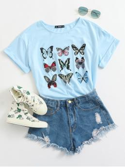 Casual Animal Regular Fit Round Neck Cap Sleeve Roll Up Sleeve Pullovers Baby Blue Regular Length Butterfly Print Cuffed Top