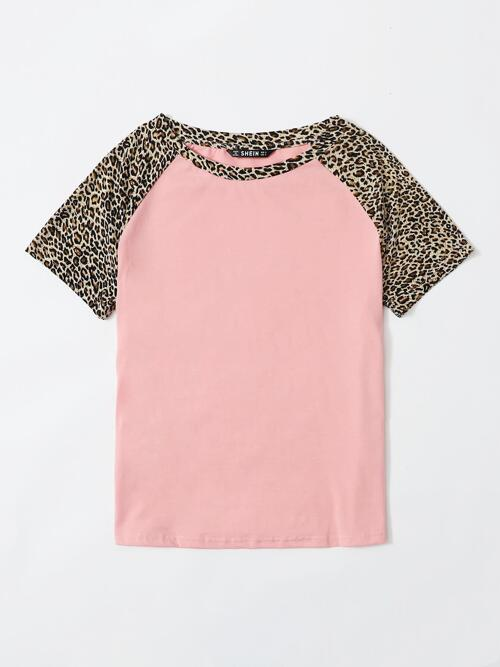 Women's Short Sleeve Polyester Leopard Baby Pink Top
