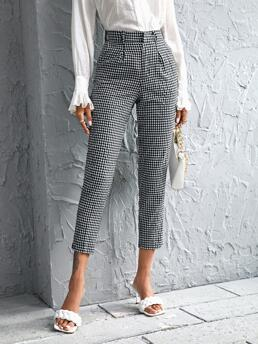 Shopping White High Waist Plicated Gingham Tapered Pants