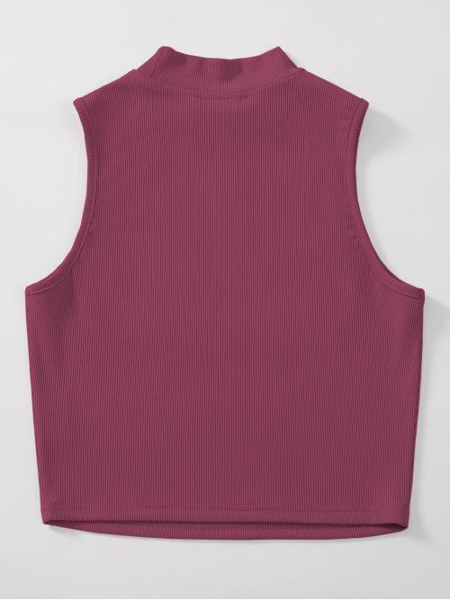 Affordable Tank Rib-knit Polyester Plain Mock Neck Top Without Necklace