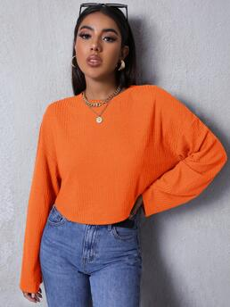 Shopping Long Sleeve Rib-knit Polyester Plain Neon Solid Tee