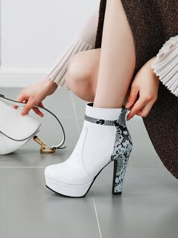 White Pu Leather Rubber Polyester Snakeskin Panel Platform Ankle Boots Clearance