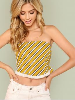 Sexy Striped Regular Fit Strapless Multicolor Crop Length Self Tie Stripe Bandeau Top